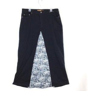 Avenue Denim Lite Maxi Jean Skirt with Insert
